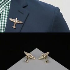 1 Pair Men's Fashion Airplane Button Collar Clip Brooch Pin Jewelry Gift Fashion