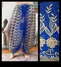Harem Pants Belly Dance Blue w/ Gold Brocade Slit 6
