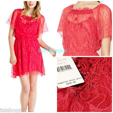 FREE PEOPLE Boho Candy RED Cherry POP Beaded Vintage LACE Dress NWT L $350 12