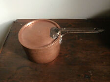 ** Casseruola pentola tegame in rame XIX secolo martellato con coperchio 2 kg **