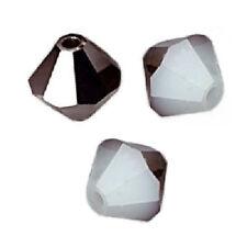 10 Perles Toupies 6mm Cristal de Swarovski - WHITE ALABASTER METALLIC SILVER