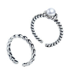2pcs Charm Women Mid Midi Above Knuckle Ring Faux Pearl Finger Stacking Rings