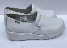 Cherokee Workwear Rocker Shoes White Leather Slip On Clogs Work Women Sz 8 Wide