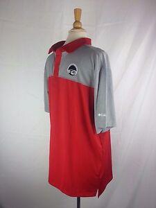 COLUMBIA Men's Polo Shirt Omni Wick Red White Black XXL 2XL Fishing Golf Casual