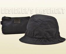 GUCCI Viaggio black L Matte LEATHER Web BUCKET rain hat & carry pouch NWT Authen