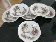 """6pc Johnson Bros """"THE OLD MILL"""" Cereal/Salad Bowls                       ENGLAND"""