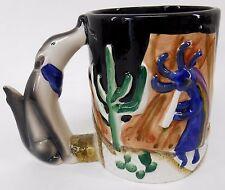 Ceramic Black coffee tea mug 4 x 3¼ Wolves & Kokopelli Wolf handle black inside