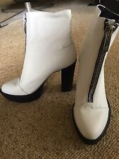Wittner 'Kandi' White Leather Ankle Go Go Platform Boots S38