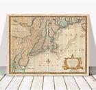 """Vintage Bowen Map of New Jersey, New York, Pennsylvania CANVAS PRINT 12x8"""""""