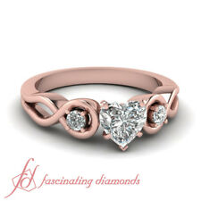 3/4 Carat Heart Shape Infinity Diamond Rings In Rose Gold With Round Accents GIA