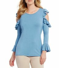 Karl Lagerfeld Paris Cold Shoulder French Blue Ruffled Sleeve Blouse Top S NWT