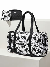 Victoria's Secret PINK Quilted Duffel Bag Set LARGE W/ Makeup Bags Black White