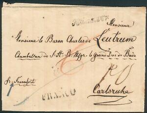 Portobrief mit Schreibschirftstempel Hannover 1811 nach Carlsruhe, RARE