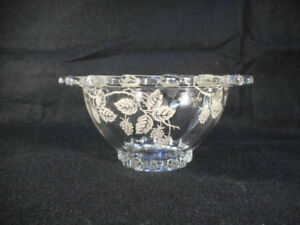 Heisey Glass Sugar Bowl with Silver Overlay Marked 2.75 by 2
