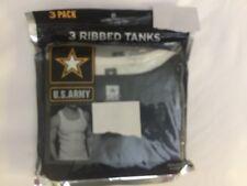 NWOT U.S. ARMY 3 RIBBED TANKS DESIGN WHITE BLACK GRAY T-SHIRT MEN'S SIZE XXL