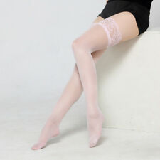 Sexy Women's Stockings Lace Sheer Top Thigh Highs Glossy Socks Pantyhose Hold Up