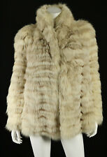 NEIMAN MARCUS Vintage Beige Feathered Fox Fur Shawl Collar Coat M