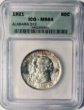 1921 Alabama 2x2 Commemorative Silver Half Dollar- ICG MS 64 - Mint State 64