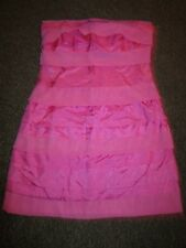 BNWT Lipsy Dress UK 12 Pink Strapless Layered Striped Frill Sundress Summer