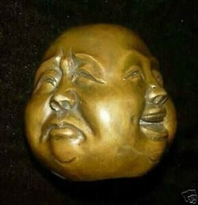 Collect Buddha Head Four Faces Brass Statue 45mm*50mm