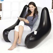 Easy Inflatable Adult Gaming Chair Lounge Seat + Cup Holder Use Indoor Outdoor