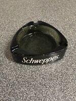 "Mid Century Schweppes Ashtray Gray Glass / Travelers-Fare 4-1/4""x4-1/4"" Rare"