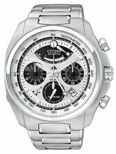 NEW CITIZEN ECO-DRIVE MEN'S WATCH ALARM CHRONO mineral ALL STAINLESS AV0050-54A