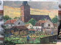 Belle Peinturepaysage village paysan  1960 Huile Sur toile Hst Signé Ruwel