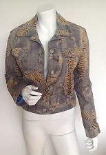 VERA PELLE WOMEN FASHION SUEDE LEATHER JACKET BEIGE/BLUE TIGER PRINT, SIZE S