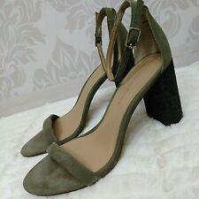 Banana Republic Ankle Strap Sandals Heels US 6 Khaki Suede Black Glitter Heel