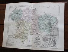 1850 Carte Géographique Atlas époque couleur Département 11 Aude Carcassonne