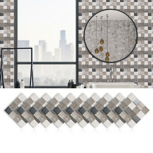 10pcs Marble Mosaic Frosted Tile Floor Wall Sticker Kitchen Bathroom Home Decor
