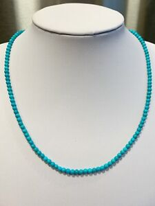 "Sleeping Beauty Turquoise Necklace 4mm Round Gem Quality 14K White Gold 18"" FINE"