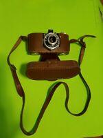 "vintage Spartus Camera ""35""and Genuine Leather Case Camera bundle untested"
