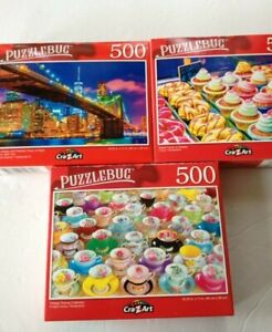 Lot of 3 Puzzlebug 500 Jigsaw Puzzles 500 Piece Puzzle New SMALL PUZZLES READ!