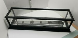 """27"""" O Scale Model Train Display Case For Mirrored Bottom 3 Rail Loose Track"""