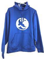 GANDER MOUNTAIN Hooded Sweatshirt Mens L Goose Silver Logo Fleece Lined Blue