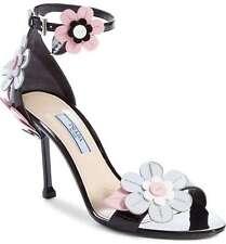 PRADA Floral Ankle Strap Black Patent Leather Sandal 41