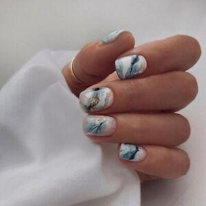 Artificial Press On Nail Tips Nail Decor Gradient Marble Gold Foil False Nails