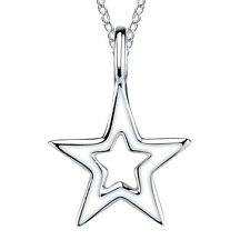"925 Sterling Silver open Star charm necklace pendant with 18"" chain"