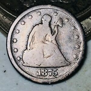 1875 S Twenty Cent Piece 20C ROTATED REVERSE Ungraded Good Silver US Coin CC9450