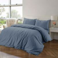 Luxury Soft 100% Pure Natural Cotton Linen Blue Quilt Duvet Cover Bedding Set