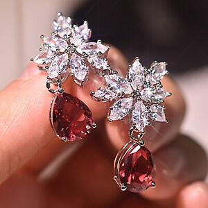 Women Unique White Zircon Snowflake Ruby Pear 925 Silver Earrings Studs Drop Lot