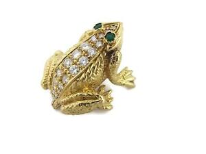 18k Yellow Gold 1.18ct Diamond & Emerald 3D Frog Brooch Pin