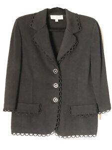 St. John Collection Black Santana Knit Blazer Jacket 12.