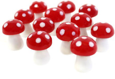 Pck of 12 Glass Mushroom for Miniature Gardening. Small Size
