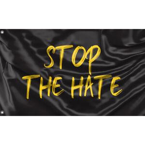 Stop The Hate Yellow Flag Unique Design, 3x5 Ft / 90x150 cm size, EU Made