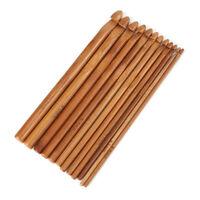 12pcs/Set Carbonized Crochet Hooks Bamboo Crocheting Knitting Needles 3-10mm IS