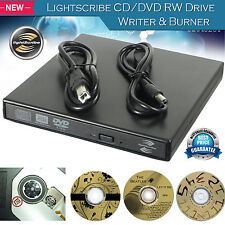 External USB 2.0 Lightscribe DVD CD RW Drive Burner ReWriter for Mac Windows PC