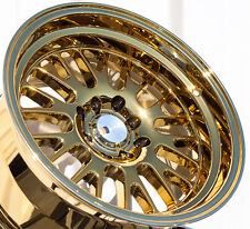 15X8 F1R F04 WHEEL 4x100/114.3 +0 73.1 GOLD CHROME RIM FITS MAZDA MIATA SCION XB